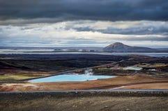 Hverir地热地区在Myvatn冰岛附近也叫Blue Lake 图库摄影