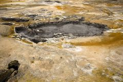 Hverir boiling mud pots Stock Photos