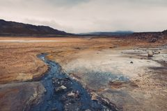 Hverir geotermiczny teren w Iceland Obraz Royalty Free