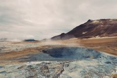 Hverir geotermiczny teren w Iceland Zdjęcia Royalty Free
