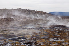 Hverir geothermal area in the north of Iceland near Lake Myvatn, Hot Mud Pots and great landscape in the Geothermal Area Hverir, s Stock Photos