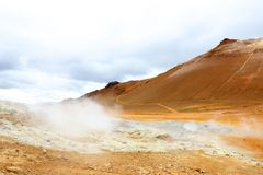 Hverir Hverarond, the geothermal area, popular tourist attraction at Lake Myvatn, Krafla northeastern region of Iceland, Eu Stock Image