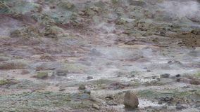 Hverir Namafjall geothermal area in Iceland stock footage