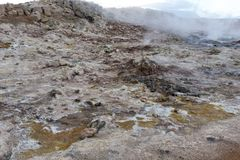 Hverir, rocks and sulfur landscape Royalty Free Stock Photo