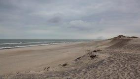 Hvide Sande in Denmark has 40 km sandy beaches stock footage