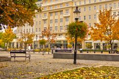 Hviezdoslavovo square in Bratislava during autumn. With trees and banks, Europe, Slovakia royalty free stock photography