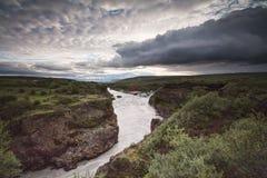 Hvita河,冰岛 库存照片