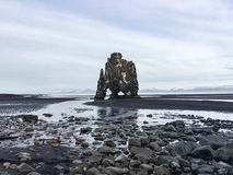 Hvitserkur, sabbia nera, pila del basalto, Islanda Immagini Stock