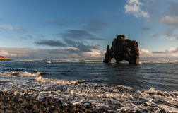 Hvitserkur Sightseeing Object in Iceland. Ocean Waves and Sunlight Stock Images