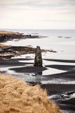 Hvitserkur, zwart zand, basaltstapel, fjord, IJsland Stock Fotografie
