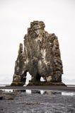Hvitserkur, zwart zand, basaltstapel, IJsland Stock Afbeelding