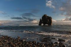 Hvitserkur Zwiedzający przedmiot w Iceland błękitne niebo fale oceanu się fala pierwszoplanowe Obraz Stock