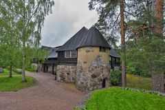 Hvittraskmanor, Kirkkonummi, Finland Restaurant en de Koffie Royalty-vrije Stock Foto's