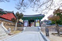 Hwaeomsa-Tempel, der der alte koreanische buddhistische Tempel in Nationalpark Jirisan ist Lizenzfreie Stockfotografie