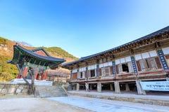 Hwaeomsa-Tempel, der der alte koreanische buddhistische Tempel in Nationalpark Jirisan ist Stockfotografie