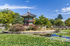 Hwangwonjeong Pagoda in Gyeongbokgung Palace, Seoul,  Korea Royalty Free Stock Photo