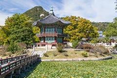 Hwangwonjeong pagoda w Gyeongbokgung pałac, Seul, Korea Zdjęcia Royalty Free