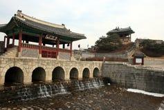 Hwaseong堡垒 30更改的卫兵7月韩国国王好朋友s汉城南部 免版税库存照片