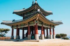 Hwaseong fästning Seojangdae, koreansk traditionell arkitektur i Suwon, Korea arkivbild