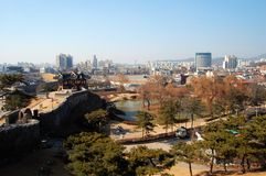 Hwaseong Festung, Ansicht von der Oberseite Lizenzfreies Stockfoto