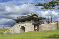 Hwaseong fortress ( (Brilliant Fortress) exterior in Suwon, South Korea. Stock Photography