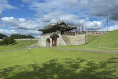 Hwaseong fortress (Brilliant Fortress) exterior in Suwon, South Korea. Royalty Free Stock Photography