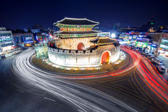 Hwaseong fortress and car light in Suwon. Royalty Free Stock Photo
