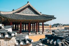 Hwaseong Fortress Dongjangdae Yeonmudae, Korean traditional architecture in Suwon, Korea. Hwaseong Fortress Dongjangdae Yeonmudae Korean traditional architecture Royalty Free Stock Images