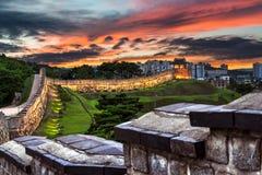 Hwaseong Fortress at Dusk Stock Image