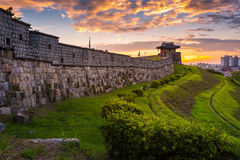 Hwaseong Fortress in Sunset, Traditional Architecture of Korea Royalty Free Stock Image