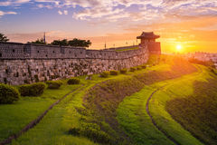 Hwaseong Fortress in Sunset, Traditional Architecture of Korea a Stock Images