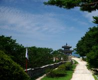 Hwaseong Fortress, Suwon, South Korea. View of the West Command Post - Seojangdae atop Mt Paldalsan. Hwaseong Fortress in Suwon, South Korea  is an UNESCO world Stock Photography