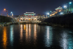 Hwaseong Fortress, Traditional Architecture of Korea in Suwon at Stock Photography