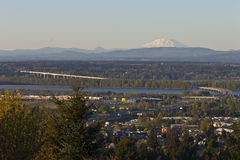 Hwy-205N the Columbia River and Mt. St Helens PNW. Stock Photos