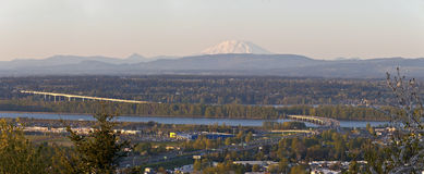 Hwy-205N the Columbia River and Mt. St Helens PNW. Stock Photography