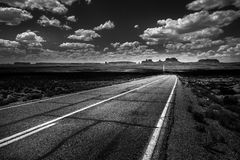 Hwy 163 toward Monument Vally Forrest Gump Point Black and White Stock Images