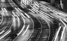 HWY Warringah White Lights Close BW Royalty Free Stock Photos