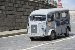 HY Citroen minibus. French car, minibus, Citroen HY rides on the paving stone in Moscow Royalty Free Stock Photo