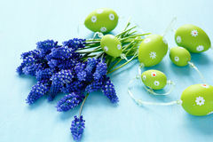 Hyacint met eierenslinger op blauw triplex Stock Fotografie