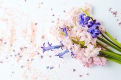 Hyacinten blommar salt för bukett och för bad på vit Royaltyfri Foto