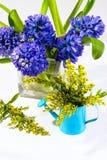 Hyacinten en kleine gele bloemen Royalty-vrije Stock Afbeeldingen