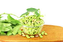 Hyacinth bean valor or indian papdi beans on white background. Fresh Hyacinth bean valor or indian papdi beans on white background Stock Photo