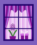 Hyacinth behind window Royalty Free Stock Images