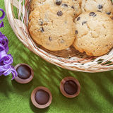 Hyacinth, cookies, candy and wicker basket. On a green background royalty free stock photography