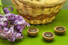 hyacinth, cookies, candy and wicker basket Royalty Free Stock Photos