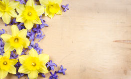 Hyacinth and daffodil on a wooden background Royalty Free Stock Photos