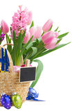 Hyacinth and tulip flowers with easter eggs Stock Photo