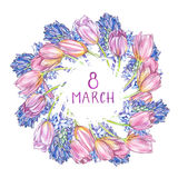 Hyacinth, Tulips and roses background in watercolor style, greeting card for 8 March holiday. Hand drawn lettering Royalty Free Stock Image