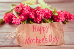 Hyacinths and card Happy Mothers Day Stock Photo