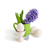 Hyacinths and Easter eggs Royalty Free Stock Images
